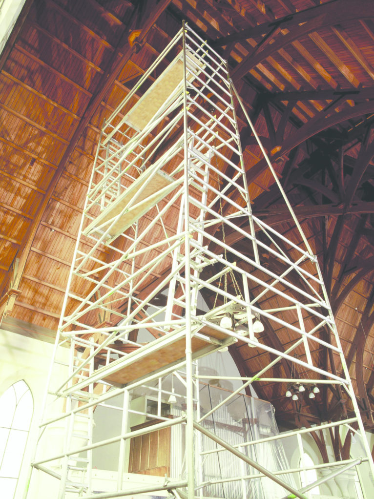 Extra wide base tower in a church